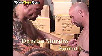 Muscular And Tattooed Older Men Flamy Threesome