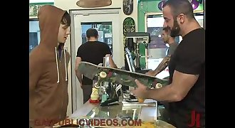 Horny crowd fuck stud in skate shop