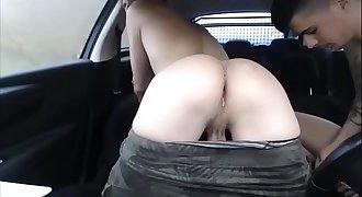 Gay Lad Sans a condom Creampie Fucking Rough Car Sex In Public Almost Caught