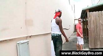 Black skinny thug sucks white cock