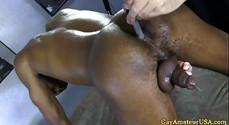 Straight black dude with a fucktoy in ass