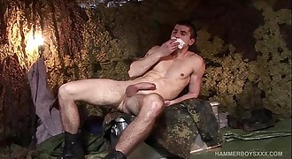 Muscular Young Soldier Rob Koubek Jerks Off and Cums